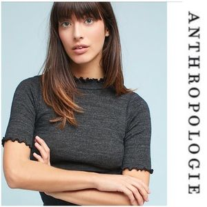 Anthropologie Frilled Half-Sleeve Tee NWT Top XS